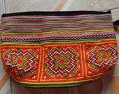 Orange Vietnam Hmong Cotton Embroidered Hemp Purse