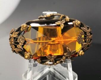 1910s Art Nouveau Floral Amber Glass Brooch