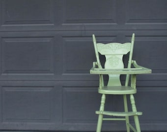 Antique Child's High Chair Lime Green Painted Wooden Highchair Childrens Baby High Chair Distressed Farmhouse Paint Shabby Chic Jenny Lind
