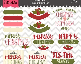 Christmas Greetings // Holiday Greetings // New Year Clipart - Winter108