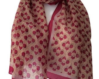 100% Silk Scarf, Ladies Beige and Red Floral print Scarf , Flower Flowers Pattern