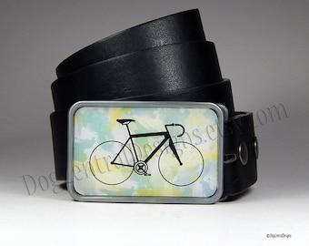 Belt Buckle Bike Watercolor Yellow Blue Belt Buckle Bicycle Buckle Bicycle Accessories Bike Art Gift for Him Boyfriend Gift Womens Belt