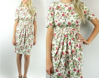 80s Pleated Floral Dress
