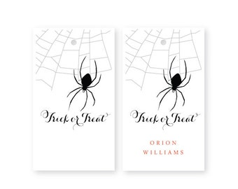 Halloween Gift Tags, Set of 10, Trick or Treat, Spider
