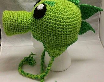 Green Repeater Peashooter Pea Shooter Crochet Hat Beanie Stocking Cap with Earflaps