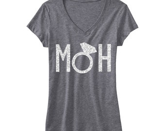 MOH MAID of HONOR Glitter Bridal Shirt Gray V-neck, Bridal Shirts, Wedding shirt, Maid of Honor shirt, weddings