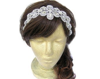 1920s Headpiece, Great Gatsby Headpiece, Wedding Hairpiece, Bridal Headband, Bridal Circlet, Wedding Hair Accessories, Rhinestone