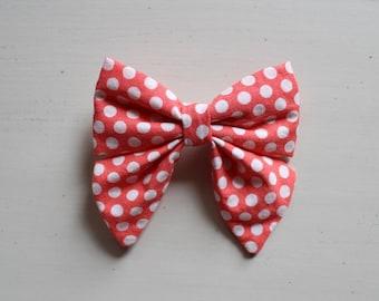 Polka Dot Coral Bow Clip
