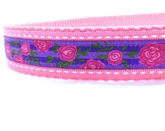 Cottage roses on Purple Dog Collar/ shabby chic Dog Collar/ ribbon dog collar/ adjustable dog collar