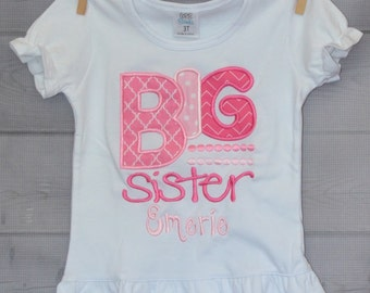 Personalized Big Little Brother Big Little Sister Applique Shirt or Onesie Girl or Boy