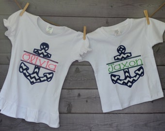 Personalized Nautical Anchor Applique Shirt or Onesie Girl or Boy