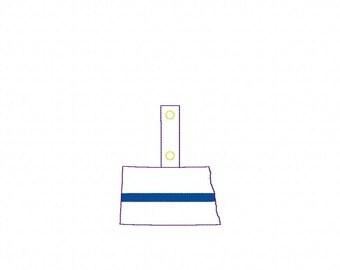 Thin Blue Line North Dakota - POLICE - In The Hoop - Snap/Rivet Key Fob - DIGITAL Embroidery Design