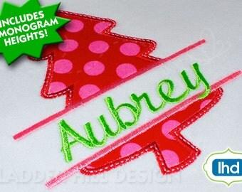 Christmas Tree Monogram Applique - Christmas Applique Design CHR045