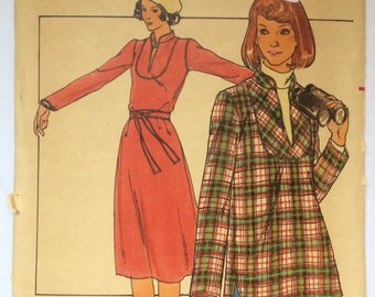 70s belted dress and shirt sewing pattern; size 14, bust 36 -- uncut & factory folded, Butterick 5030