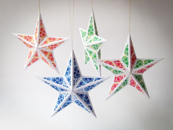 Diy christmas star ornaments set of 6 printable star by for 3d star decoration