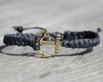Unisex Anchor Bracelet - Adjustable, Bronze Anchor Bracelet, Adjustable Mens Anchor Bracelet, Nautical Anchor Bracelet,Christmas Gift Ideas