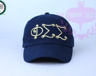 Phi Sigma Sigma Baseball Cap - Marbles - Custom Color Hat and Embroidery.