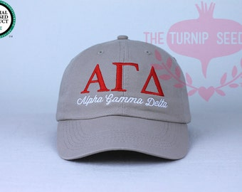 Alpha Gamma Delta Sorority Baseball Cap - Custom Color Hat and Embroidery.