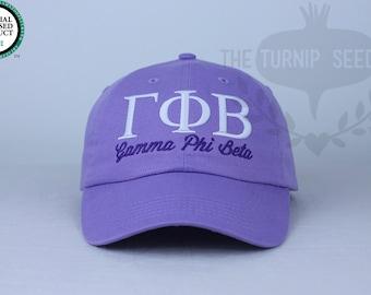 Gamma Phi Beta Sorority Baseball Cap - Custom Color Hat and Embroidery.