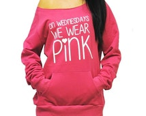 On-Wednesdays-We-Wear-Pink.  Mean Girls Eco-Fleece Sweatshirt. Off Shoulder Sweatshirt. Raw-Edge Off-Shoulder. Breast Cancer Shirt.