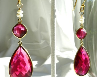 RUBY QUARTZ & PEARL    fauceted earrings w/ gold vermeil