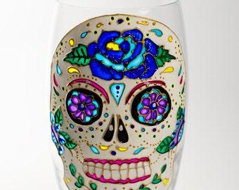 Sugar Skull Wedding Stemless Skull Wine Glasses Day of the Dead Engagement Gift Sugar Skull Kitchen