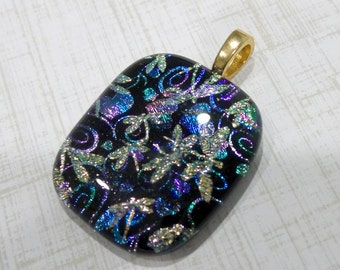 Dragonflies and Heart Pendant, Dichroic Necklace, Spakly Fused Glass Pendant, Omega Slide, One of a Kind Fused Glass Jewelry - Maleeyah - -5