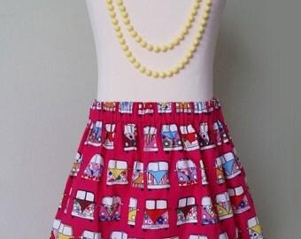 Campervan, pink skirt, campervan clothing, READY TO SHIP, rainbow skirt, bestseller, kids clothing,  uk