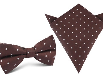 Matching Bow Tie + Pocket Square Combo Brown with White Polka Dots (M122-BT+P) Men's Squares Handkerchief + Bowtie Bowties Mens Men Wedding