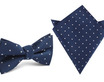Matching Bow Tie + Pocket Square The OTAA Navy Blue with White Polka Dots (M131-BT+P) Men's Squares Handkerchief Bowtie Bowties Wedding OTAA