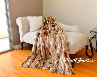 Fancy Rabbit Brown Faux Fur Luxurious Light Throws Soft Cozy Comforter Blankets Caramel Beige Tan Multi Exotic Fake Fur Modern Throws