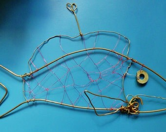 Brass Bass--Hanging Wire Sculpture