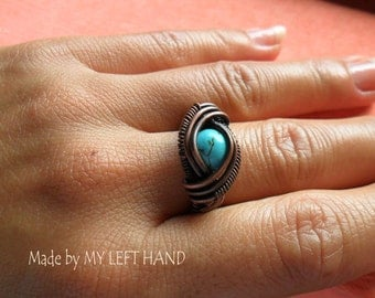 Copper Ring Turquoise and Antiqued Copper Wire Wrapped Ring Turquoise ring Copper jewelry Turquoise jewelry Wire ring Eye rirg