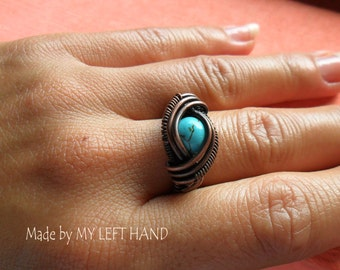 Copper Ring Turquoise and Antiqued Copper Wire Wrapped Ring Turquoise ring Copper jewelry Turquoise jewelry Wire ring