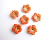 10 x Marbled Orange Flower Beads, 20mm Orange Flower Czech Glass Beads, Orange Flower Bloom Beads, Large Flower Beads FLW0263