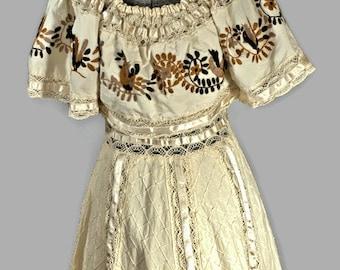 1960's Cotton Dress. Vintage Boho Peasant Floor Length Dress Size S