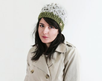 Acorn Winter Beanie - Knit and Crochet Chunky Hat - Fall Thick Cap - Winter Accessory - Novelty Hat in Marble & Olive| The Castor Hat |