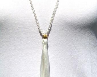 Crystal Mala Tassle Necklace - Snow White