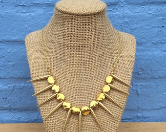 Gold Statement Necklace, Gold Necklace, Spiky Gold Necklace, Spiked Necklace, Statement Necklace, Gold Spiky Statement Necklace