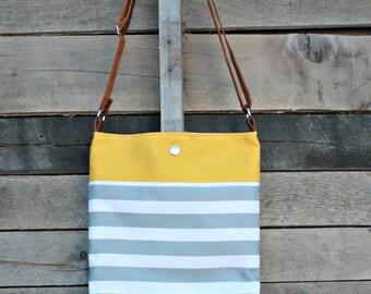 Crossbody Bag, Mustard, Gray and White Stripe, Genuine Leather, Everyday Purse, Adjustable Strap