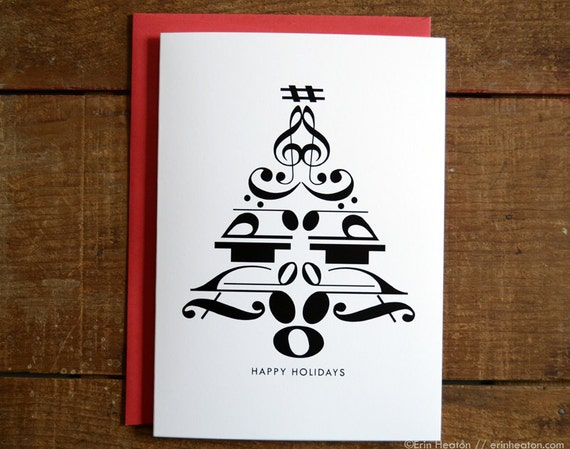 SALE // Music Christmas card 5x7 CHRISTMAS TREE by erinheaton