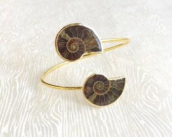 Janna Conner /Gold Ammonite Fossil Cuff Bracelet / Fossil / Fossil Jewelry / Fossil Bracelet / Bridesmaid Gift / Bridesmaid Jewelry / Unique
