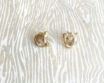Janna Conner / 14K Gold / Horse Stud Earrings / Equestrian / Animal Lover / Horse Lover / Bridesmaid Gift / Hypoallergenic Earrings / Unique