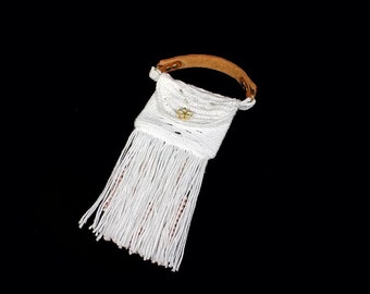 Top Handle Bag, Handbag, Boho Chic, Fringed and Beaded, White, Hand Tooled Leather Strap
