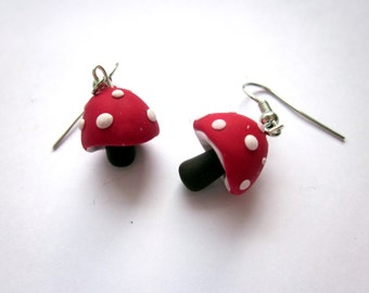 Toadstool Earrings, Polymer Clay Red Jewellery, Polymer Clay Toadstool Earrings, Toadstool Jewelry, Red Mushroom Pendant