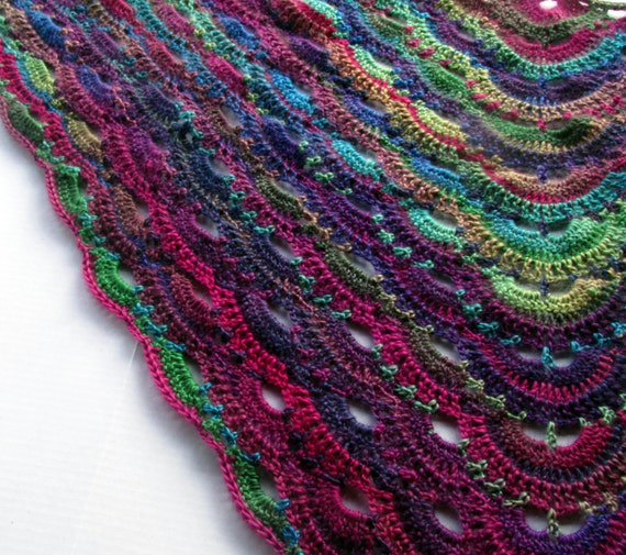 Scalloped Triangle Shawl Crochet Pattern : Vibrant Crochet Shawl German Scalloped Triangle Shawl