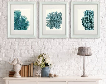 Sea Coral prints - Set 3 prints Turquoise coral 2 - turquoise wall art  turquoise decor coral home decor sea coral décor coastal wall art