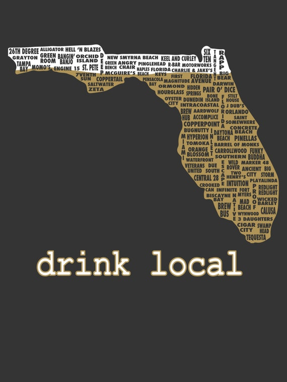 Drink local florida beer t shirt for Local t shirt print shops