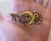 Victorian key good luck rose and yellow 14K brooch with repousse moon, flowers, seed pearls C clasp