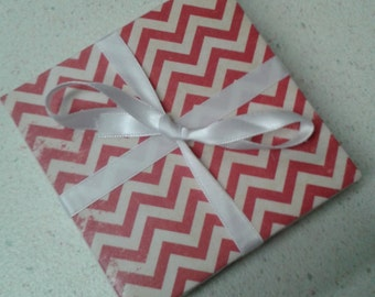 Red and off-white chevron coasters. Set of 4 decoupage tile coasters. Distressed look.